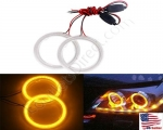 New Amber Size 70mm Super Bright 60SMD COB LED Halo Ring Angel Eyes Led Car Headlight 12V DC