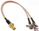 New SMA Female Jack Split to 2x TS9 Male 150mm 6″ RG316 Short Y-Cable Adapter